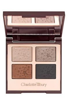 Most Wished For: NEW! Charlotte Tilbury 'Fallen Angel' Luxury Palette (Limited Edition) | Nordstrom $65.00 This is a BRAND NEW Palette, Part of the NEW Supermodel Collection!  the ultimate smoky eye palette, combining a hypnotic blend of pale golden pearl, antique silver, velvet black and molten, metallic bronze to create a gorgeous smoky eye that looks amazing on every skin tone. Its breakthrough formulas can be used wet and dry.