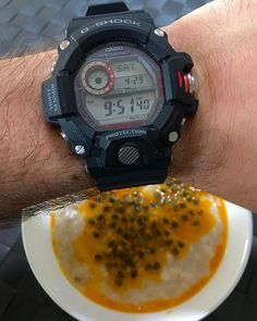 REPOST!!!  My favourite brekkie, oatmeal and passion fruit with the favourite weekend watch, the @casio.watches @gshock_jp Rangeman #watch #watch⌚️ #watches #watchfam #watchporn #watchaddict #watchesofinstagram #watchoftheday #wristshot #wristporn #wristgame #wristwatch #rangeman #instawatch #japan #japanese #japanesewatches #gshock #gshocks #casio #horolgy #hodinkee  repost | credit: ID @modus_horologicus (Instagram)