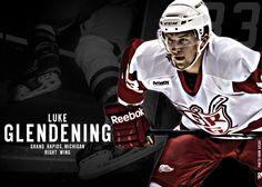 Luke Glendening www.griffinshockey.com/socialmedia Hockey Teams, Hockey Players, Ice Hockey, Luke Glendening, Grand Rapids Griffins, Red Wings Hockey, Go Red, Detroit Red Wings, My Boys