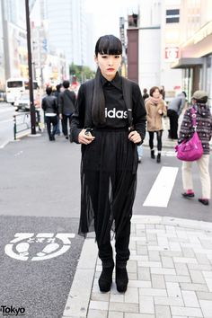 Chiki Chiki is a 17-year-old student we met in #Harajuku. Her black bangs hairstyle is super trendy right now in Harajuku. Her look also includes an Adidas sweatshirt, sheer skirt & suede wedges. More pics here! #tokyofashion   #streetsnap