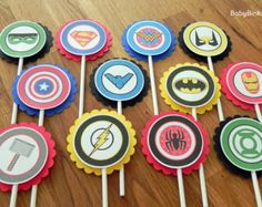 Die Cut Super Hero Cupcake Toppers superhero batman by BabyBinkz