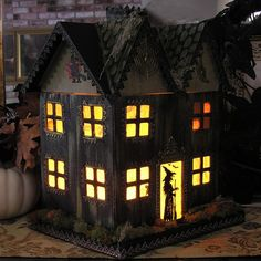 Light Up Haunted House Paper Mache Halloween Folk by ivascreations, $120.00