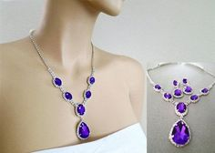 purple earrings and necklace set