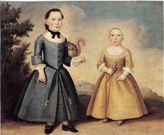 1760 Joseph Badger (American colonial era artist, 1708-1765) Portrait of Two Children