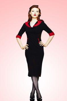 Bunny - 50s Thelma Pencil Dress Black Red polka