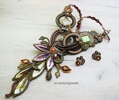 Soutache Necklace, Homemade Jewelry, Necklaces, Bracelets, Shibori, Macrame, Wire, Crafty, My Style