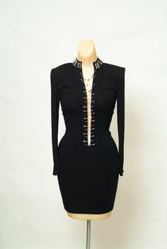 Vintage Dress / 90s dress / 1990s  / Party dress / Black dress / Little black dress / Bodycon Mini  / punk rock / 90s grunge / toxic vision by VintageBoxFashions on Etsy