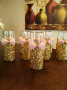 Cylinder glass vases for centerpiece decorations w/Gold glittered bottoms & pink bow #GoldGlitter