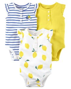 3-Pack Flutter-Sleeve Bodysuits from Carters.com. Shop clothing & accessories from a trusted name in kids, toddlers, and baby clothes.