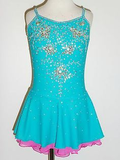 Custom Made to Fit Lovely Figure Skating Dress with Crystals - Nice example of plain color top with a bright netting skirt underneath.  Lindsay's dress will be pink for the main color, and green for underneath.