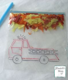 Fun firetruck activity for kids.