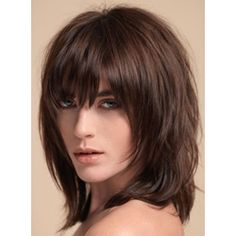 Layered Shag Hairstyle with Full Fringe Middle Length Synthetic Capless Women Wigs: M.Wigsbuy.com