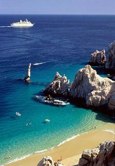 Overview of Lover's Beach, Cabo San Lucas Here, with my husband, our yacht in the distance, our girls swimming in this pristine water, ...priceless!!! #pinadream