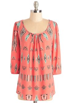 Your Fest Bet Top. Add a colorful splash of perkiness to your day with this coral-orange blouse. #coral #modcloth