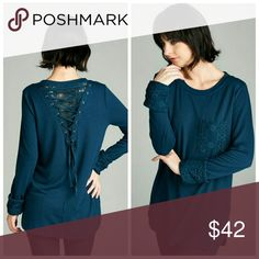Annabelle French Terry Top Lace layered, back lace up, long sleeve, French Terry knit top.   65% Polyester 31% Rayon 5% Spandex Tops Tees - Long Sleeve