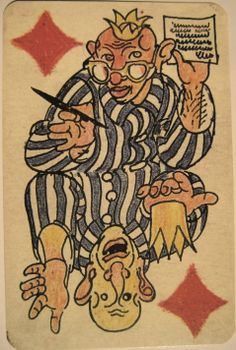 Playing cards by Slovenian artist Boris Kobe who was held by the Nazis as a political prisoner in Allach, which was a sub-camp of the Dachau concentration camp near Munich.IMG_1165.JPG (1912×2841)
