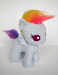 "MY LITTLE PONY Baby Rainbow Dash Hand Made Plush Pegasus Toy- This is one of the cutest fan-made Plushies I have seen!! Can you say ""D'aawwwwwww!!"""