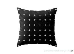 White Cross Plus on Black Pillow Cover By by PencilMeInStationery, $31.00
