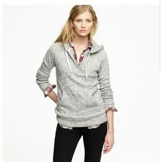 SALE J.Crew ragtime popover hoodie marled gray In like new condition!  Tag says xs, but it can fit a small as well. Has good amount of stretch. I usually wear a small in tops.  Great for layering on top of or under other items. My favorte grey colored piece in my closet. Good texture and speckled greys mixed throughout. J. Crew Sweaters