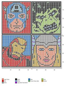 AVENGERS  2/3 Plastic Canvas Coasters, Plastic Canvas Ornaments, Plastic Canvas Tissue Boxes, Plastic Canvas Crafts, Plastic Canvas Patterns, Needlepoint Patterns, Cross Stitch Patterns, Marvel Cross Stitch, Stitch Cartoon