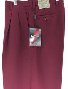 Men's Burgundy Dress Pants 2-Pleats Cuff Hem 100% Polyester Pacelli Pierce 30-58 #Pacelli #DressPleat