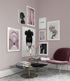 Find inspiration for creating a picture wall of posters and art prints. Endless inspiration for gallery walls and inspiring decor. Create a gallery wall with framed art from Desenio. Pink Living Room, Interior, Living Room Decor, Cheap Home Decor, Home Decor, Room Inspiration, House Interior, Apartment Decor, Interior Design