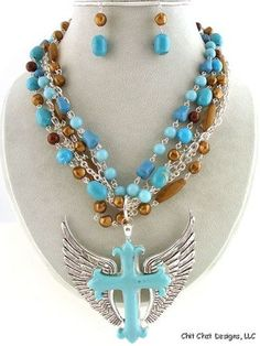 Cross Wing Turquoise Brown Layered Chunky Statement Necklace & Earrings Set