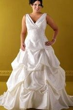 This wonderful Wedding Dresses  Cute Pick Up  Alluring V-Neck Romantic Court Train Wedding Dress  This beatiful cheap wedding dresses use the Taffeta material, the front V-Neck neckline compose this elegant and charming dress. A-Line outline match with your unique and sexy appeal.Dressaler.com offer you the best Plus Size Wedding Dresses There must be one for you. - $161.99
