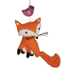 This sly fox is in little black socks and has a bird friend to keep him company! This hand-felted hanging ornament is carefully stuffed and beautifully Fox Ornaments, Felt Christmas Ornaments, How To Make Ornaments, Felt Fox, Felt Baby, Wool Felt, Christmas Inspiration, Christmas Ideas, Xmas