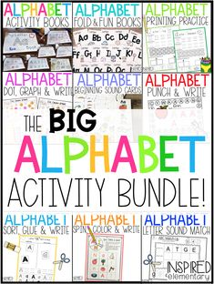 Alphabet Activities for kindergarten are easy with these alphabet worksheets, ideas and printable fine motor skills activities. Alphabet Activity Books and no prep alphabet centers are all included. Use this big Alphabet Bundle in pre-K or kinder for students learning the alphabet or doing letter of the week practice. Writing Letters, Book Letters, Alphabet Book, Teaching The Alphabet, Learning Letters, Alphabet Worksheets, Kindergarten Worksheets, Alphabet Activities, Book Activities