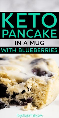 YUMMY Keto Blueberry Pancake Mug Cake! This keto pancake mug cake recipe with blueberries is just the keto breakfast recipe you need to start your day off right. It really is like a keto pancake but without the need to fuss with a stove! Pancakes In A Mug, Keto Pancakes, Blueberry Pancakes, Blueberry Recipes, Almond Recipes, Keto Recipes, Snack Recipes, Dessert Recipes, Blueberry Breakfast