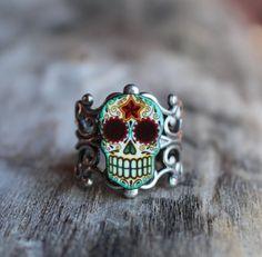 Day of the Dead Filigree Sugar Skull Ring in by PrettyInInkJewelry, $14.95