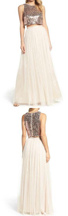two piece long bridesmaid dress, 2017 long bridesmaid dress, sequins bridesmaid dress, ivory bridesmaid dress