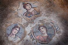 Mosaic of 3 muses from mythology, found in Zeugma, Turkey (Courtesy Kutalmis Gorkay, Zeugma Archaeological Project)