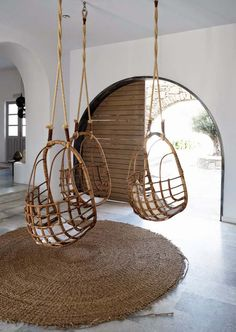 Not a bad way to relax!!!! Hanging rattan chairs
