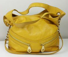 MICHAEL KORS Jamesport Large Marigold Yellow Soft Leather Shoulder Tote Handbag