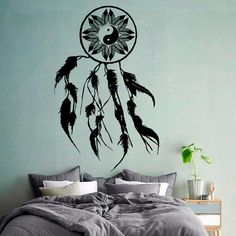 Wall Decals Dream Catcher Amulet Indian Mandala Floral Design Feather Yin Yang Sign Yoga Gym Home Vinyl Decal Sticker Interior Decor    ☆ º ♥