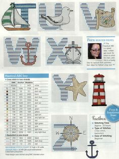 Nautical alphabet part 3 with color chart