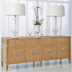 Nora Modern Classics Light Oak Wood Polished Nickel Media Cabinet. #kathykuohome