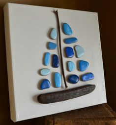 Come Sail Away, pebble art, stone art, driftwood art, beach decor