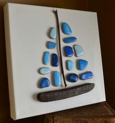 Come Sail Away, pebble art, stone art, driftwood art, beach decor