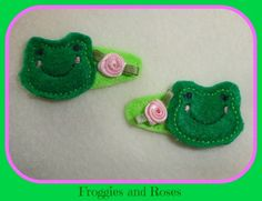 Frogs and Roses Hair Clips :: Jakob's Ladder Online Shop