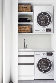5 Ideas for a Small Laundry Spaces Laundry Cupboard, Laundry Doors, Small Cupboard, Laundry Cabinets, Small Laundry Closet, Small Laundry Space, Laundry In Bathroom, Small Spaces, European Laundry
