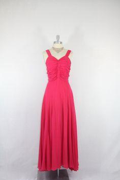 1940s Long Dress  Hot Pink Silk Chiffon by VintageFrocksOfFancy, $220.00