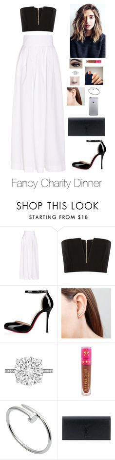 """Fancy Charity Dinner"" by brenda-all-over ❤ liked on Polyvore featuring Rosie Assoulin, Balmain, Betteridge, Jeffree Star, Cartier and Yves Saint Laurent"