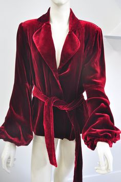 70s Deep Red Velvet Jacket with Belt - Luxurious Soft Velvet