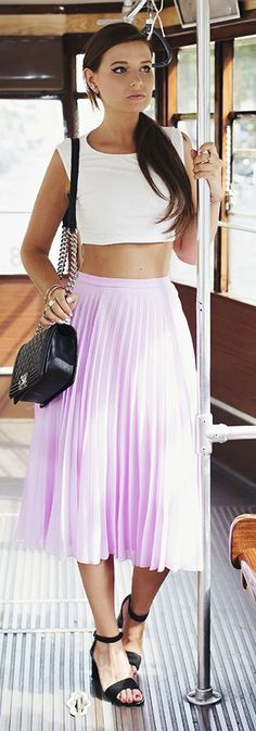 Asos Lilac High Rise Flattering Accordion Pleat Midi A-skirt