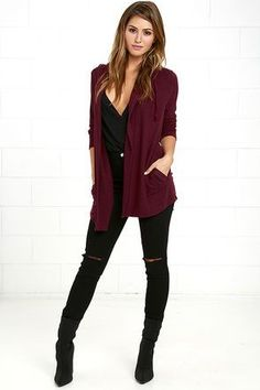 Call on The Marled Burgundy Hooded Cardigan Sweater for all those crisp days outdoors! Marled burgundy knit creates soft, long sleeves and an open front, complete with front pockets, and an oversized hood with drawstring. Source by zubzub cardigan outfit Maroon Cardigan Outfit, Burgandy Cardigan, Pullover Outfit, Burgundy Outfit, Cardigan Outfits, Hooded Cardigan, Cardigan Sweaters, Marled Sweater, Winter Mode Outfits