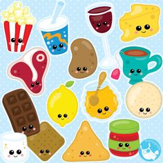 Food clipart commercial use, Kawaii Food clipart vector graphics, Perfect pairs digital clip art, chocolate clipart - CL1001 by…
