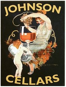 Johnson Cellars. Alcohol Vintage poster / vieille affiche publicitaire d'alcool. Drink ads. Italian